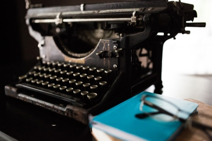 Typewriter and book